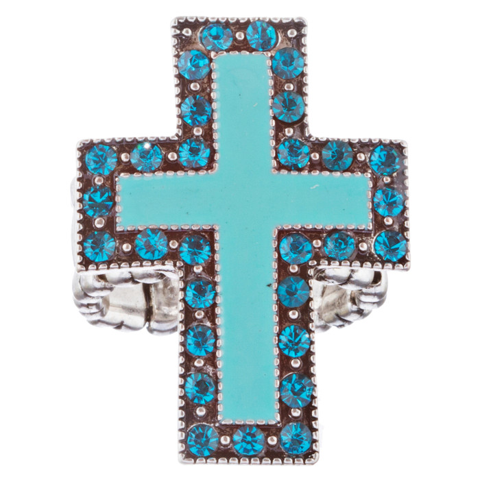 Cross Jewelry Sparkle Crystal Rhinestone Enamel Stretch Fashion Ring R229 Blue