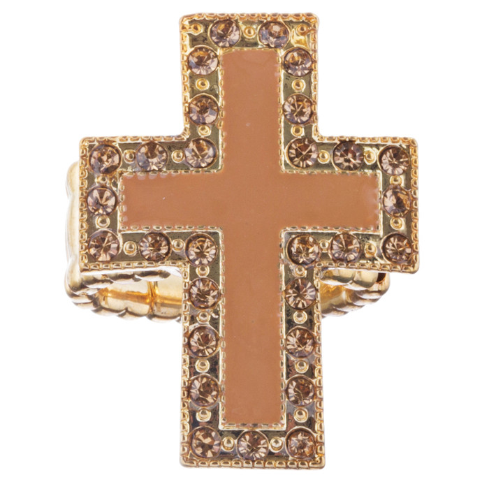 Cross Jewelry Sparkle Crystal Rhinestone Enamel Stretch Fashion Ring R229 Brown