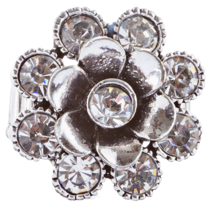 Beautiful Floral Design Crystal Rhinestones Fashion Stretch Ring R231 Silver
