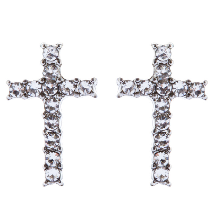 Beautiful Studded Cross Dazzle Crystal Rhinestones Fashion Earrings E1125 Silver