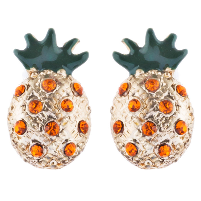 Fun and Unique Pineapple Fruit Design Crystal Rhinestone Fashion Earrings E1126