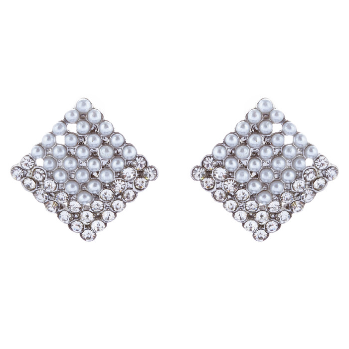 Beautiful Diamond Shape Stud Style Crystal Rhinestone Fashion Earrings E1129 SV