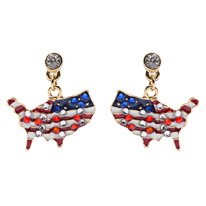 Patriotic Jewelry Crystal Rhinestone American Flag Dangle Earrings E762 Gold