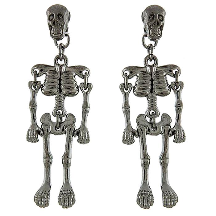 Halloween Costume Jewelry Enamel Dangling Skull Ornate Drop Earring E1140 Black