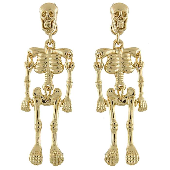Halloween Costume Jewelry Enamel Dangling Skull Ornate Drop Earring E1140 Gold
