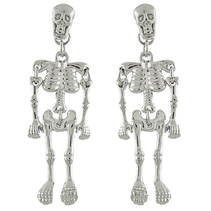 Halloween Costume Jewelry Enamel Dangling Skull Ornate Drop Earring E1140 SV