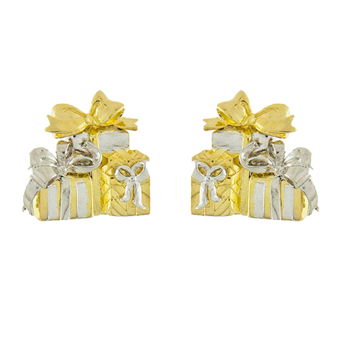 Christmas Jewelry Holiday Enamel Gift Box Cluster Stud Fashion Earrings E1141 GD