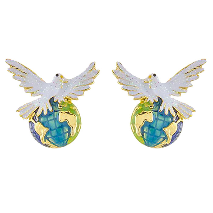 Christmas Jewelry Holiday Dove of Peace Earth Stud Fashion Earrings E1142 Multi