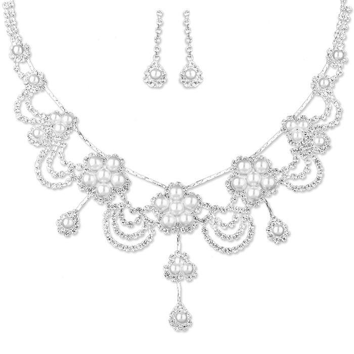 Bridal Wedding Prom Jewelry Set Crystal Rhinestone Pearl Gorgeous Necklace J736