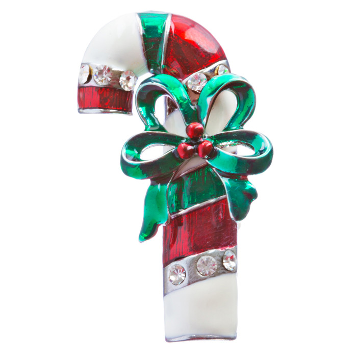 Christmas Jewelry Crystal Rhinestone Holiday Adorable Candy Cane Brooch BH136 MT