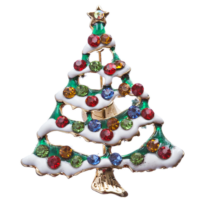 Christmas Jewelry Crystal Rhinestone Lovely Holiday Tree Pin BH142 Multi