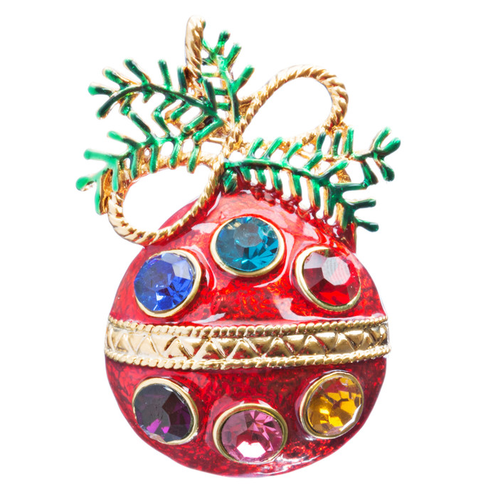 Christmas Jewelry Crystal Rhinestone Charming Holiday Ball Brooch Pin BH144 MT