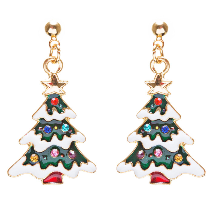 Christmas Jewelry Crystal Rhinestone Lovely Holiday Tree Earrings E903 Multi