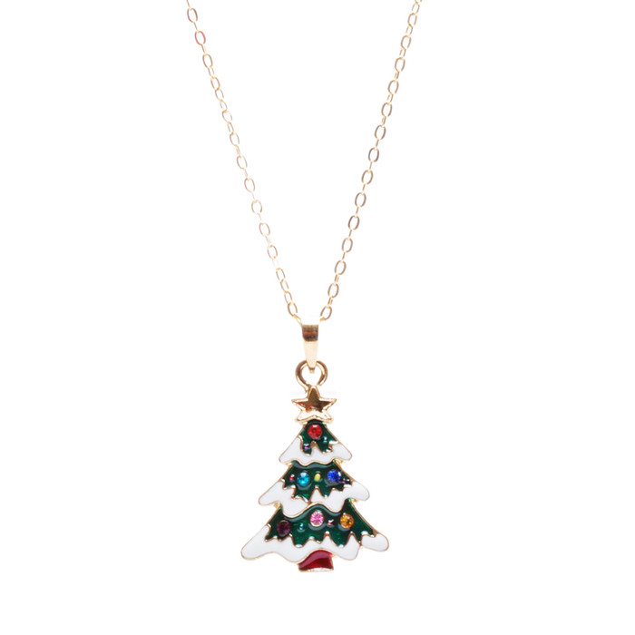 Christmas Jewelry Crystal Rhinestone Joyful Holiday Tree Necklace N87 Green