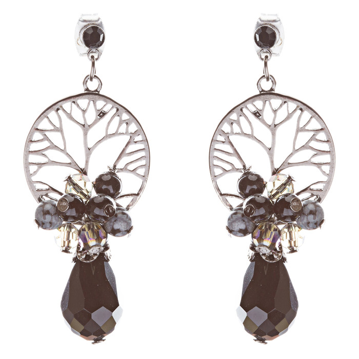 Semiprecious Cluster Crystal Earrings Hematite Black