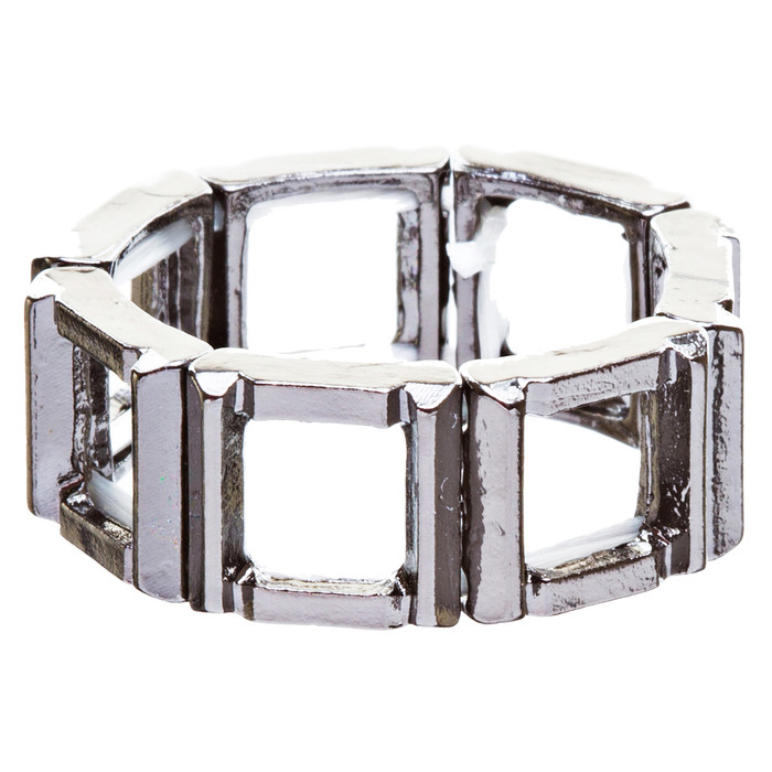 Fashion Statement Square Shaped Hollow Design Stretch Fashion Ring R214 Black