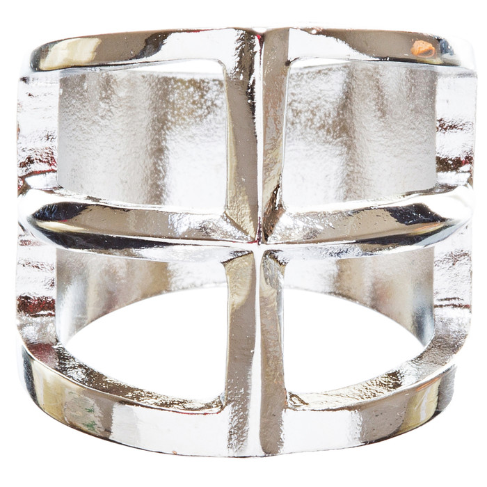 Trendy Square Shaped Hollow Design Statement Fashion Stretch Ring R215 Silver