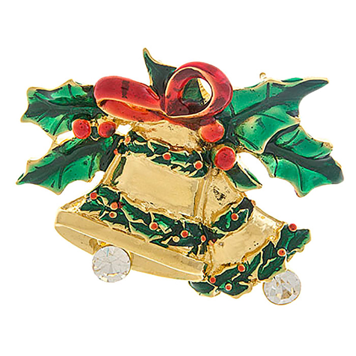 Christmas Jewelry Crystal Rhinestone Jingle Bell Fashion Brooch Pin BH203 Gold