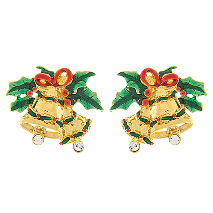 Christmas Jewelry Crystal Rhinestone Jingle Bell Fashion Earrings E1155 Gold