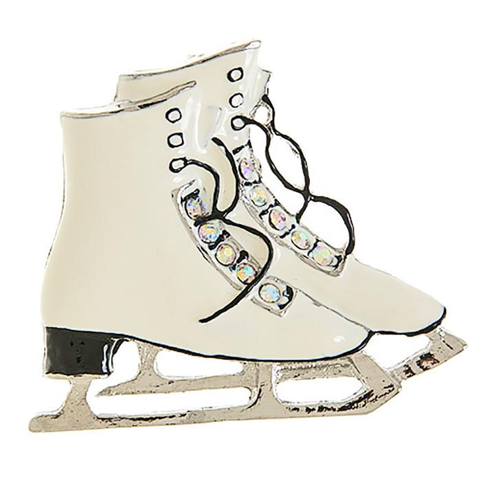 Christmas Jewelry Crystal Rhinestone Ice Skating Shoes Brooch Pin BH208 White