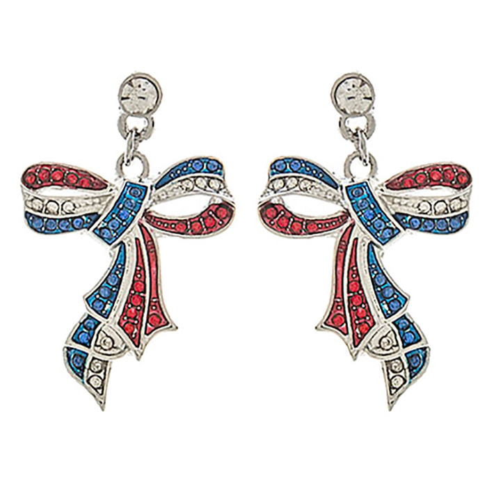 Patriotic Jewelry Crystal Rhinestone Ribbon Bow Dangle Earrings E1176 Silver