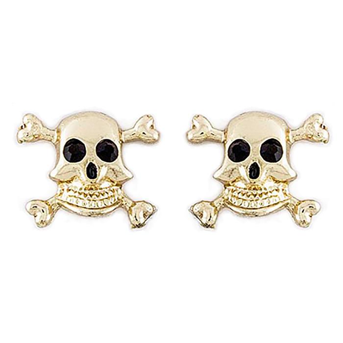 Halloween Costume Jewelry Crystal Rhinestone Skull Bone Earrings E1178 Gold