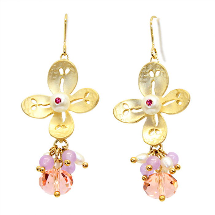 Semiprecious Crystal Cluster Drop Flower Earrings Pink