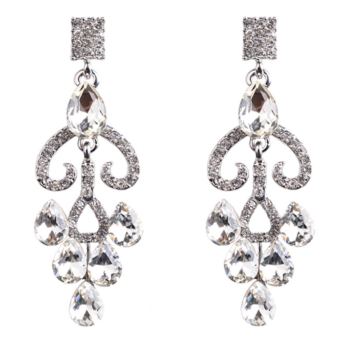 Bridal Wedding Jewelry Prom Crystal Rhinestone Gorgeous Dangle Earrings E1184 SV