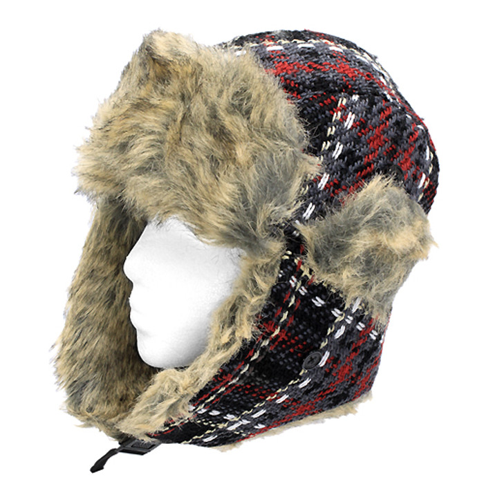 Plaid Design Faux Fur Trooper Aviator Trapper Cold Weather Winter Ski Cap Hat BK