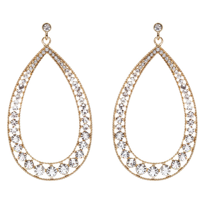 Crystal Accented Teardrop Dangle Earring Gold Clear