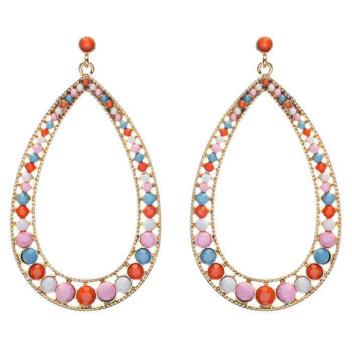 Crystal Accented Teardrop Dangle Earring Pink Multi E297