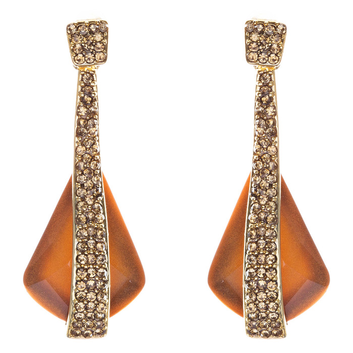 Beautiful Long Crystal Pave Accented Earrings Brown