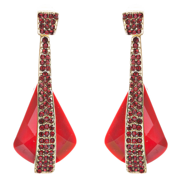 Beautiful Long Crystal Pave Accented Earrings Red