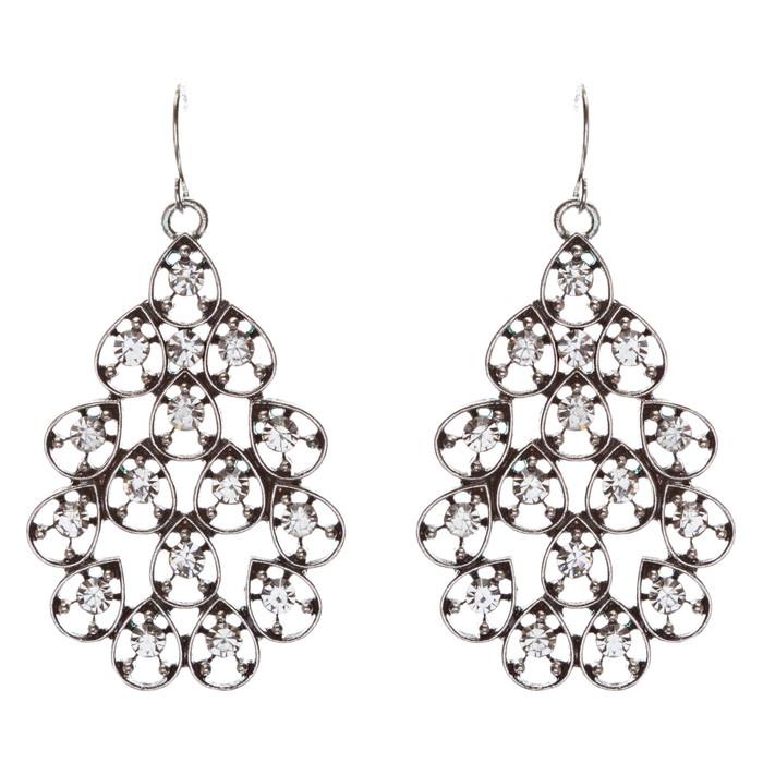 Multi Teardrop Dangle Fashion Earrings Antique Silver