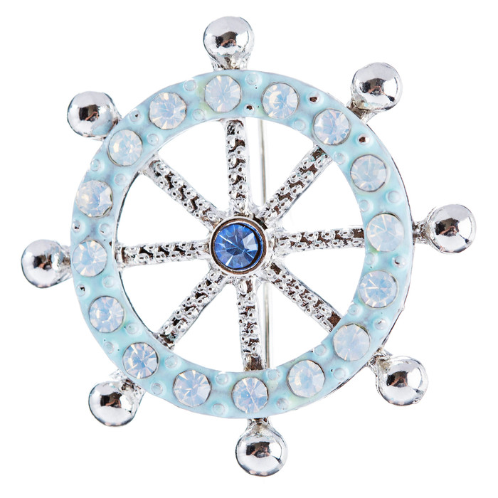 Fashion Jewelry Clear Crystal Rhinestones Ocean Inspired Wheel Brooch Pin Silver