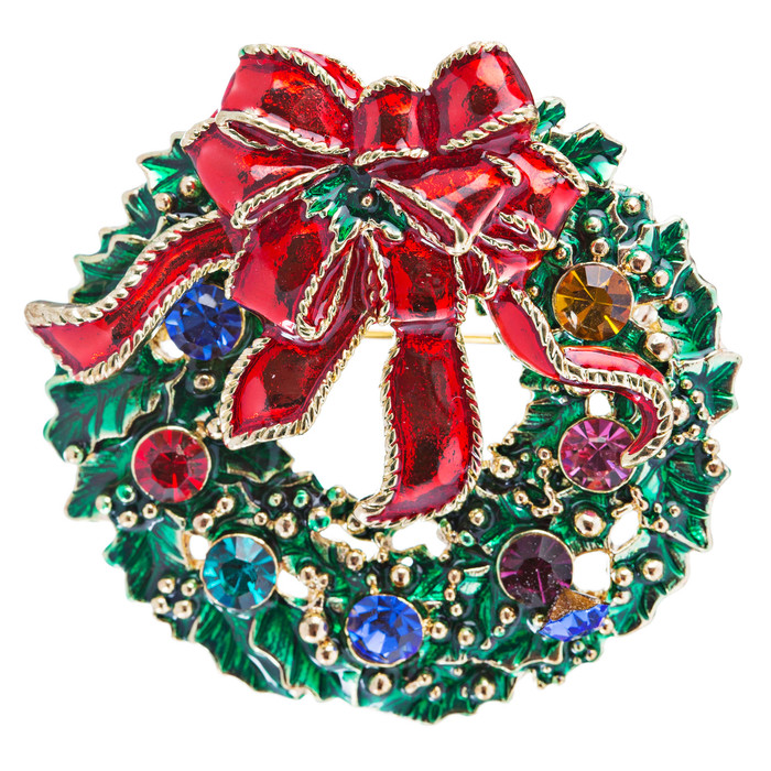Christmas Jewelry Crystal Rhinestone Sparkle Wreath Ribbon Brooch Pin Gold Green