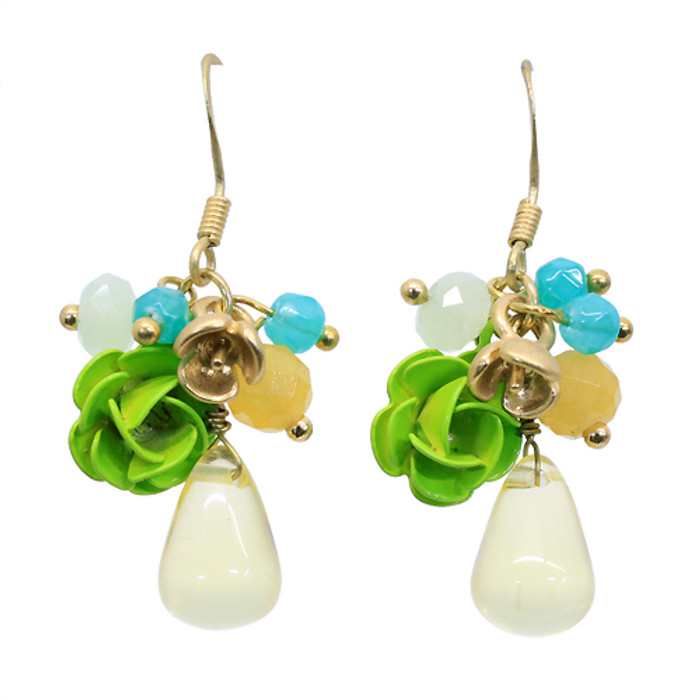 Floral Charm Tear Drop Dangle Handmade Earring Green
