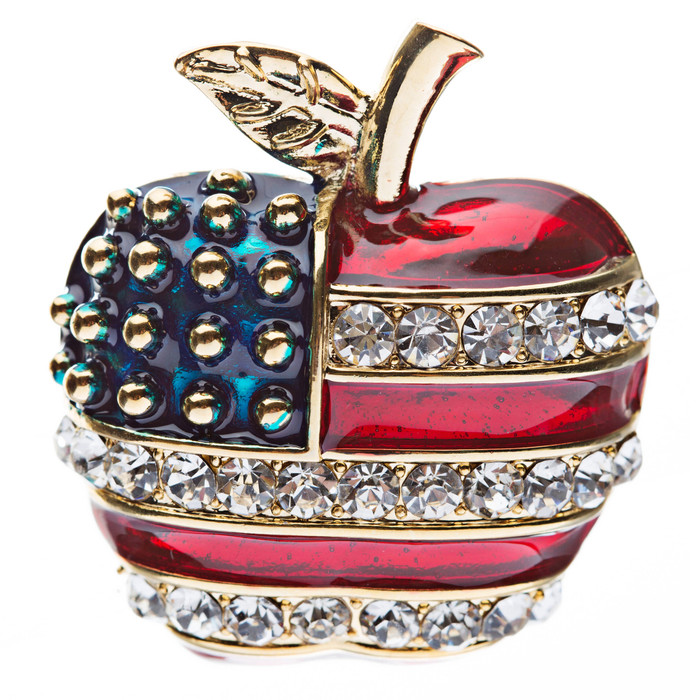 Patriotic American Flag Gorgeous Crystal Rhinestone 3D Apple Brooch Pin Gold
