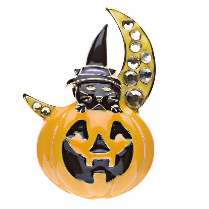Halloween Costume Jewelry Crystal Black Cat Moon Happy Pumpkin Brooch Pin Orange