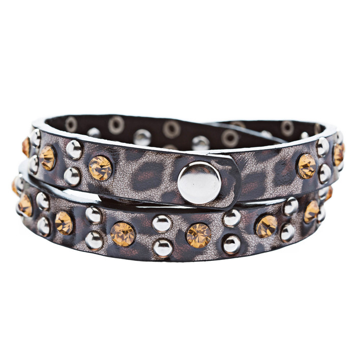Genuine Leather Crystal Rhinestone Animal Print Pattern Wrap Bracelet Brown