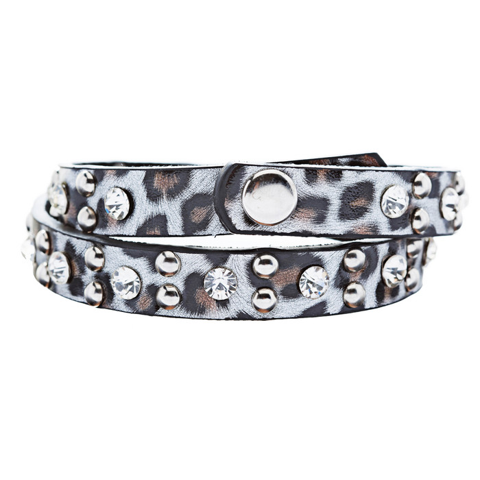 Genuine Leather Crystal Rhinestone Animal Print Pattern Wrap Bracelet Silver