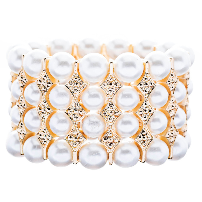 Bridal Wedding Jewelry Stunning 4 Rows Pearl Crystal Stretch Bracelet Gold