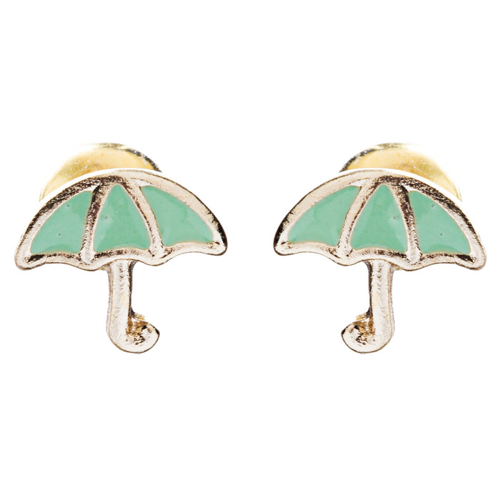 Cute Mini Umbrella Design 7mm Stud Fashion Earrings Gold Green