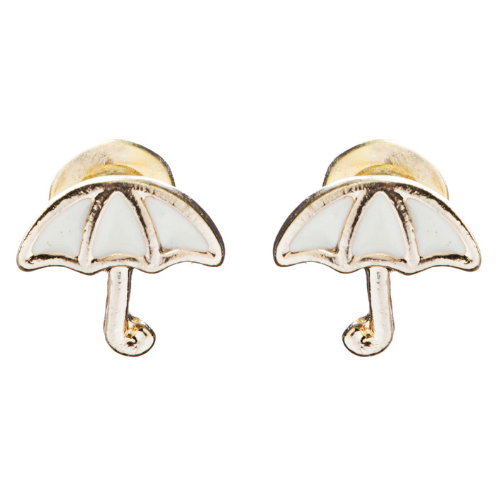 Cute Mini Umbrella Design 7mm Stud Fashion Earrings Gold Ivory