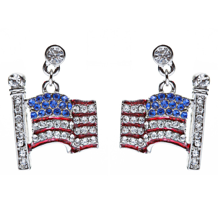 Patriotic Jewelry Flying American Flag 3D Crystal Rhinestone Earrings Silver