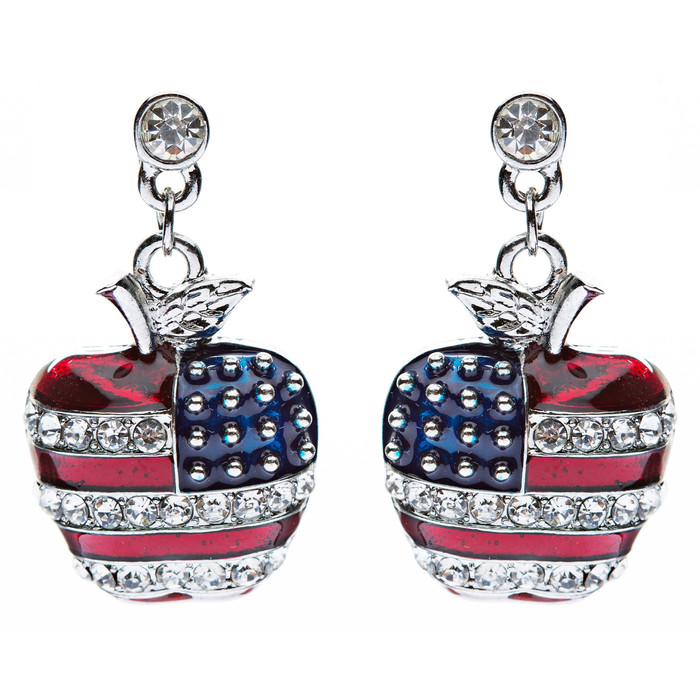 Patriotic American Flag Sparkling Crystal Rhinestone 3D Apple Earrings Silver