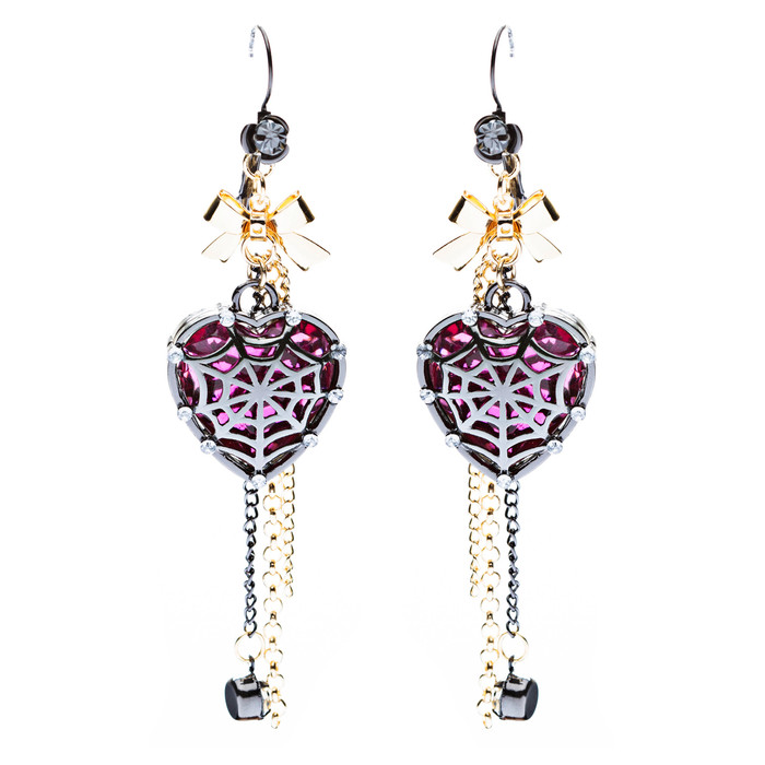 Halloween Costume Jewelry Crystal Rhinestone Spider Web Heart Dangle Earrings