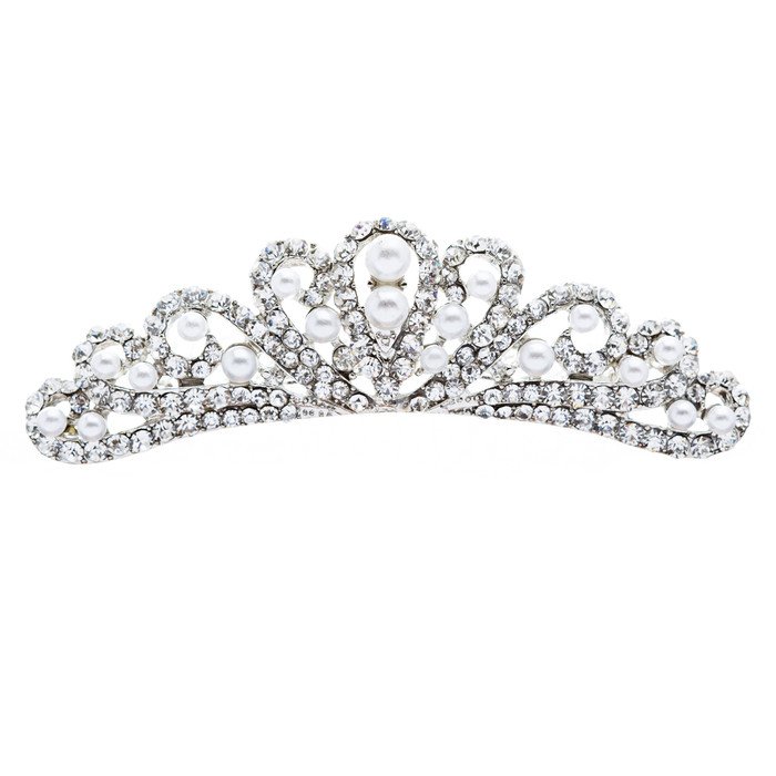 Bridal Wedding Jewelry Crystal Rhinestone Elegant Mid Size Crown Hair Tiara Comb