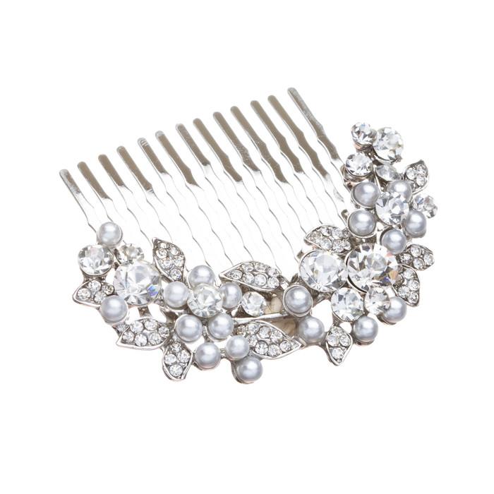 Bridal Wedding Jewelry Crystal Rhinestone Pearl Floral Hair Comb Pin Silver