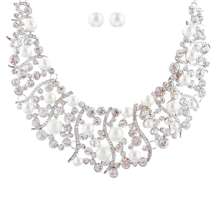 Bridal Wedding Jewelry Set Crystal Rhinestone Pearl Stunning Classy Bib Necklace